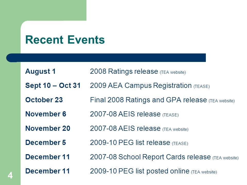 4 Recent Events August 12008 Ratings release (TEA website) Sept 10 – Oct 312009 AEA Campus Registration (TEASE) October 23Final 2008 Ratings and GPA r