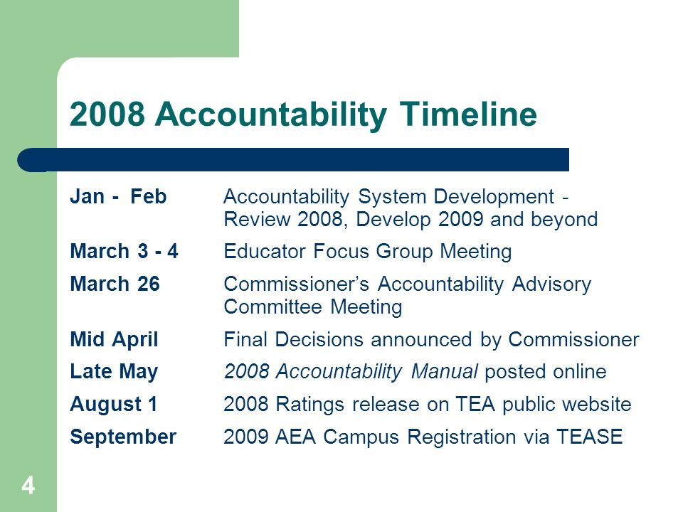 4 2008 Accountability Timeline Jan - Feb Accountability System Development - Review 2008, Develop 2009 and beyond March 3 - 4Educator Focus Group Meet