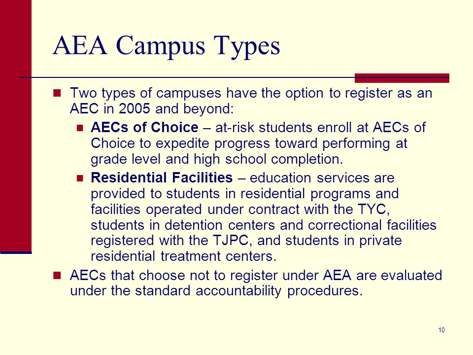 10 AEA Campus Types Two types of campuses have the option to register as an AEC in 2005 and beyond: AECs of Choice – at-risk students enroll at AECs of Choice to expedite progress toward performing at grade level and high school completion.