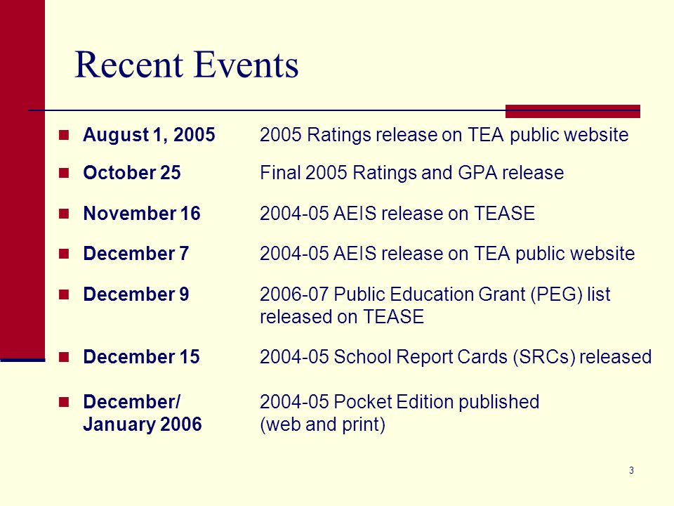3 Recent Events August 1, 20052005 Ratings release on TEA public website October 25Final 2005 Ratings and GPA release November 162004-05 AEIS release on TEASE December 72004-05 AEIS release on TEA public website December 92006-07 Public Education Grant (PEG) list released on TEASE December 152004-05 School Report Cards (SRCs) released December/ 2004-05 Pocket Edition published January 2006 (web and print)