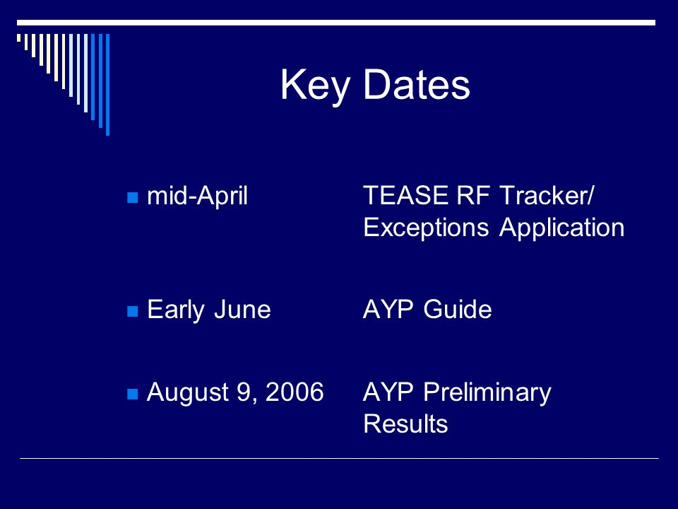 Key Dates mid-AprilTEASE RF Tracker/ Exceptions Application Early JuneAYP Guide August 9, 2006AYP Preliminary Results