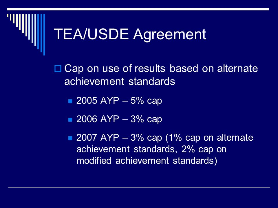 TEA/USDE Agreement Cap on use of results based on alternate achievement standards 2005 AYP – 5% cap 2006 AYP – 3% cap 2007 AYP – 3% cap (1% cap on alternate achievement standards, 2% cap on modified achievement standards)