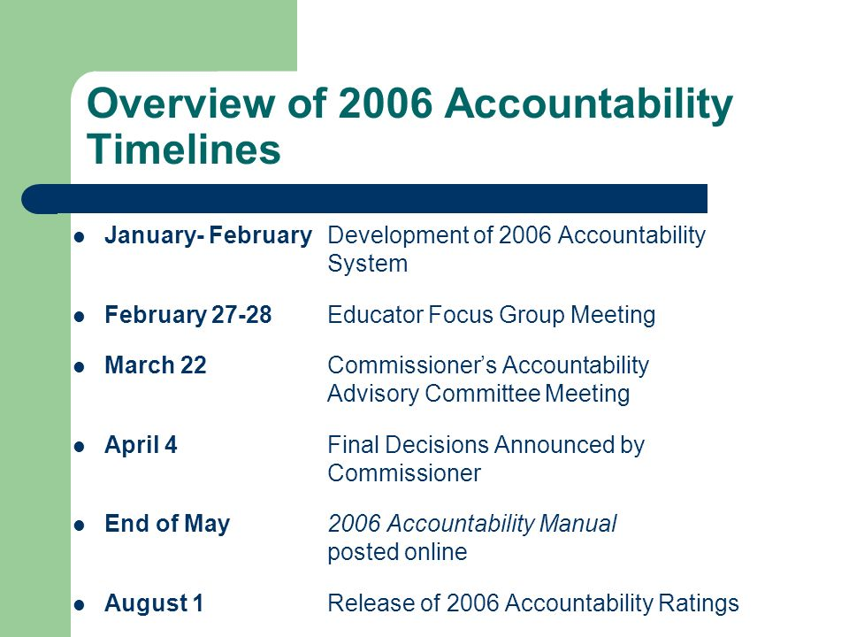 Overview of 2006 Accountability Timelines January- FebruaryDevelopment of 2006 Accountability System February 27-28Educator Focus Group Meeting March