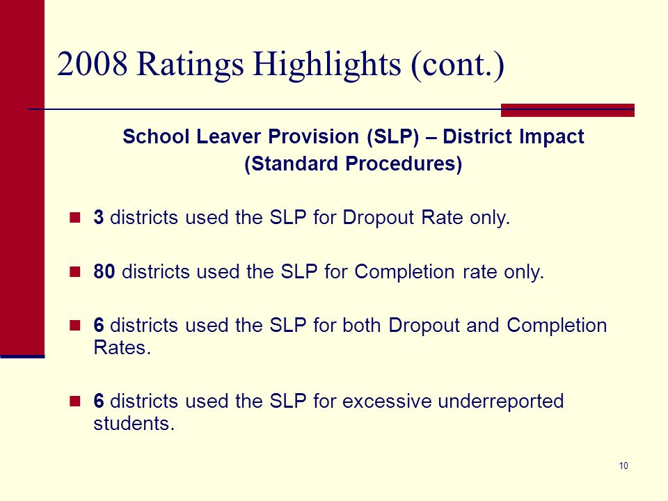 Ratings Highlights (cont.) About Exceptions - Districts In 2008, 19 of the Recognized districts are large (10,000 or more enrolled) compared to only 2 districts of this size earning Recognized in 2007.