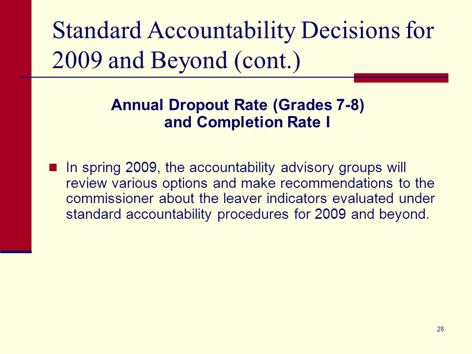 27 Standard Accountability Decisions for 2009 and Beyond (cont.) TAKS (Accommodated) Science (grades 5, 8, 10, & 11) Science (grade 5 Spanish) Social Studies (grades 8, 10, & 11) English Language Arts (grade 11) Mathematics (grade 11) Use Reading/ELA (grades 3 – 10) Reading (grades 3 – 6 Spanish) Mathematics (grades 3 – 10) Mathematics (grades 3 – 6 Spanish) Writing (grades 4 & 7) Writing (grade 4 Spanish) Report in AEIS Only Use