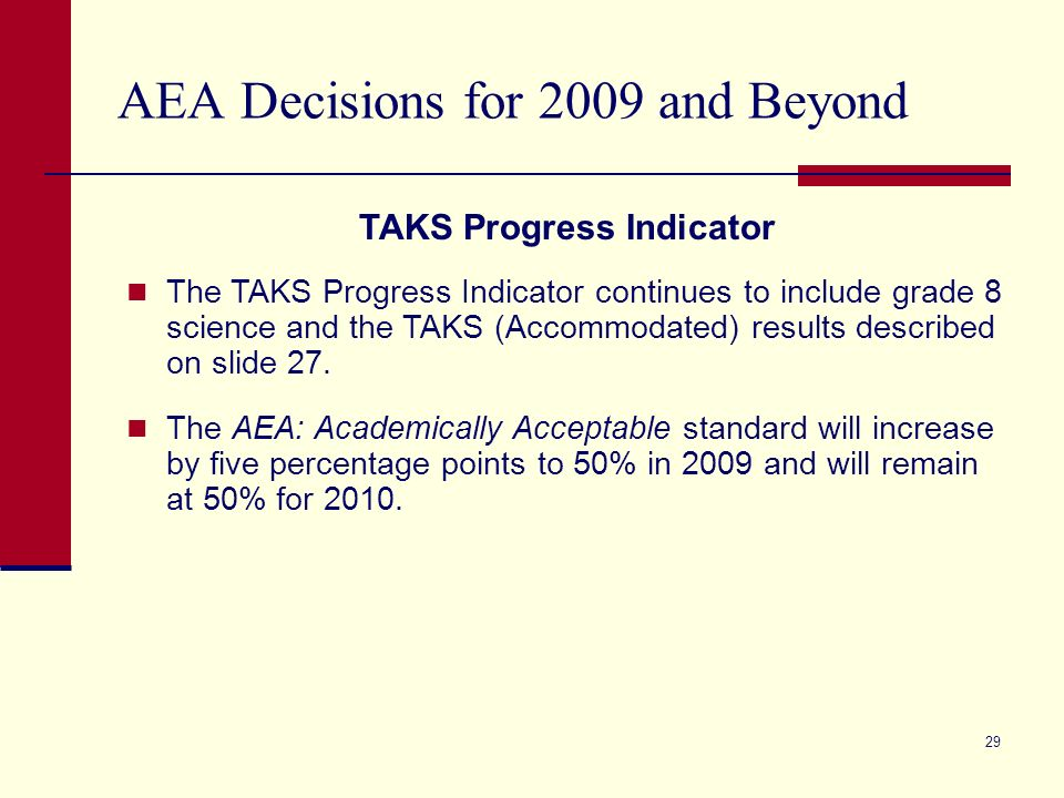 28 Standard Accountability Decisions for 2009 and Beyond (cont.) In spring 2009, the accountability advisory groups will review various options and make recommendations to the commissioner about the leaver indicators evaluated under standard accountability procedures for 2009 and beyond.