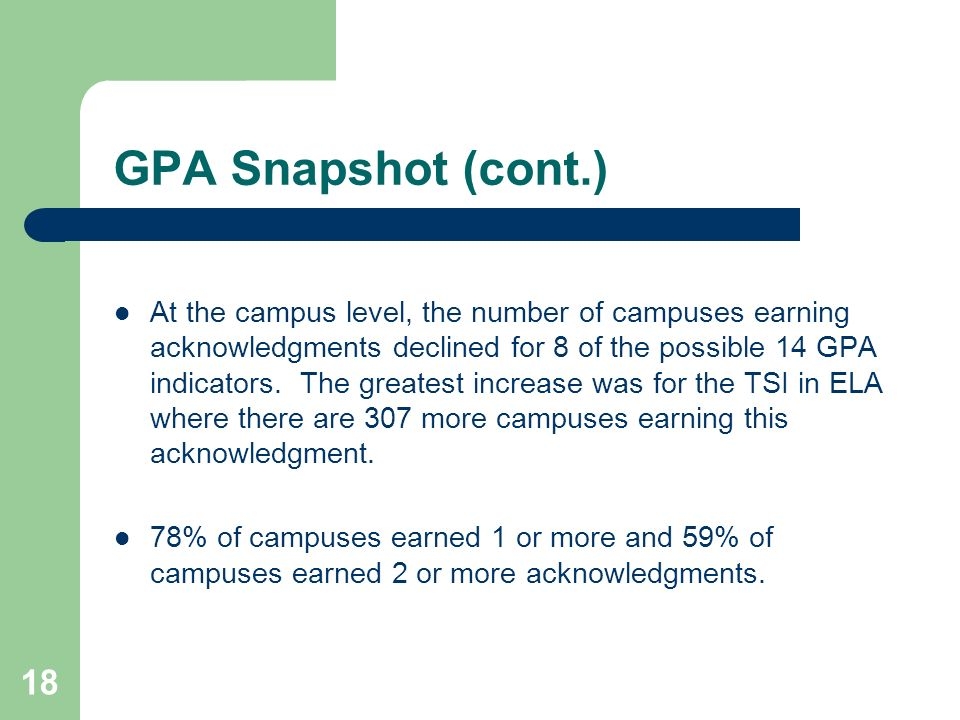 18 GPA Snapshot (cont.) At the campus level, the number of campuses earning acknowledgments declined for 8 of the possible 14 GPA indicators.