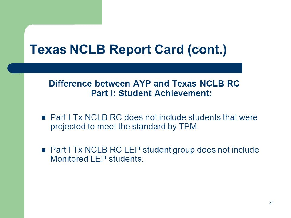 Texas NCLB Report Card (cont.) Difference between AYP and Texas NCLB RC Part I: Student Achievement: Part I Tx NCLB RC does not include students that were projected to meet the standard by TPM.