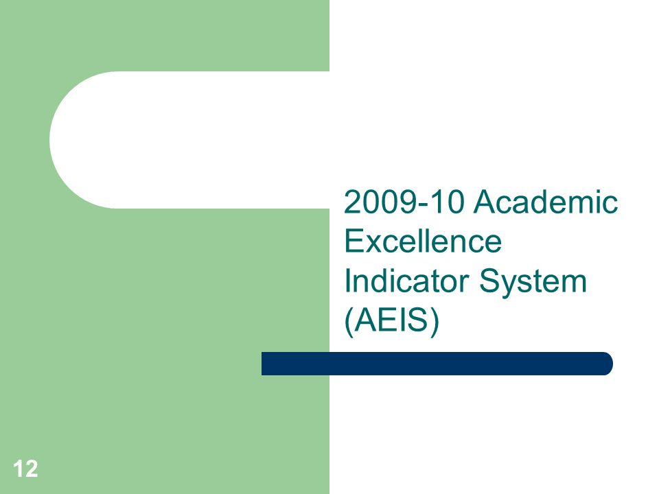 12 2009-10 Academic Excellence Indicator System (AEIS)