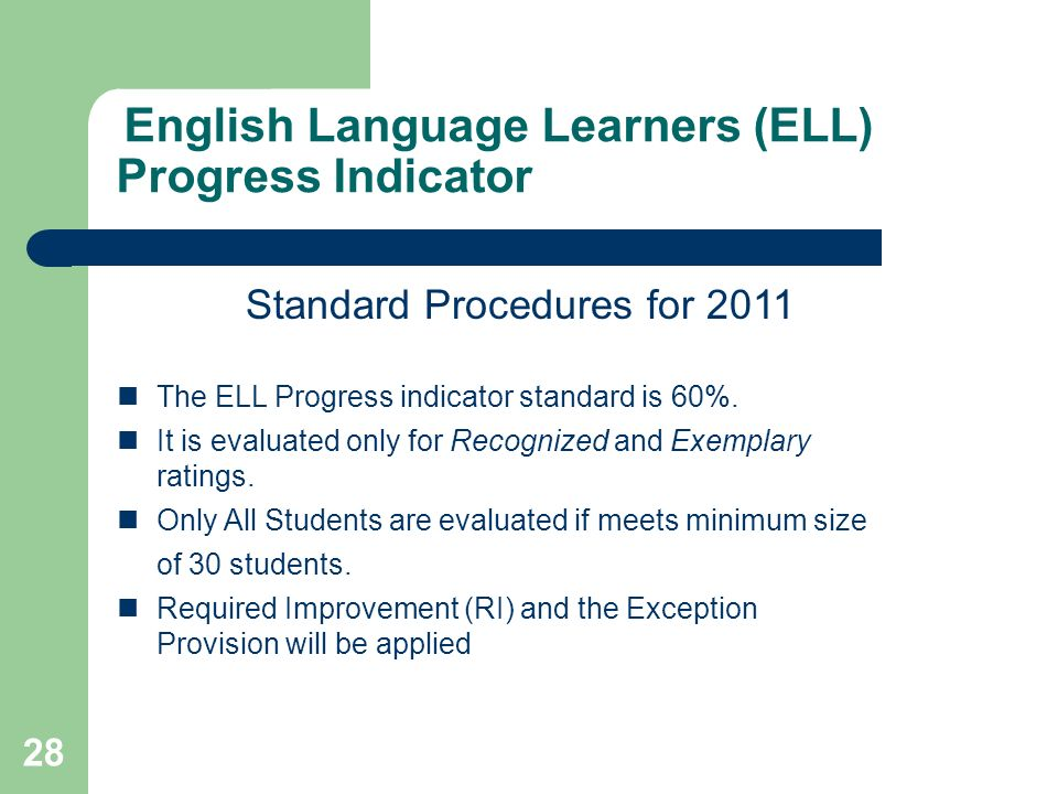 28 English Language Learners (ELL) Progress Indicator Standard Procedures for 2011 The ELL Progress indicator standard is 60%.