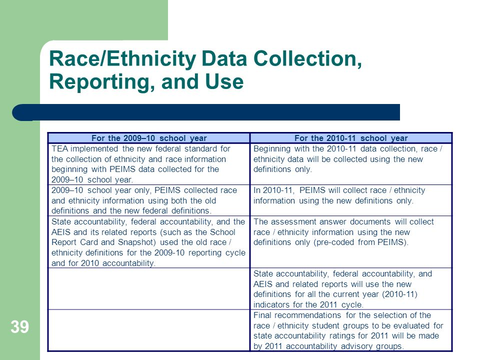 39 Race/Ethnicity Data Collection, Reporting, and Use For the 2009–10 school yearFor the school year TEA implemented the new federal standard for the collection of ethnicity and race information beginning with PEIMS data collected for the 2009–10 school year.