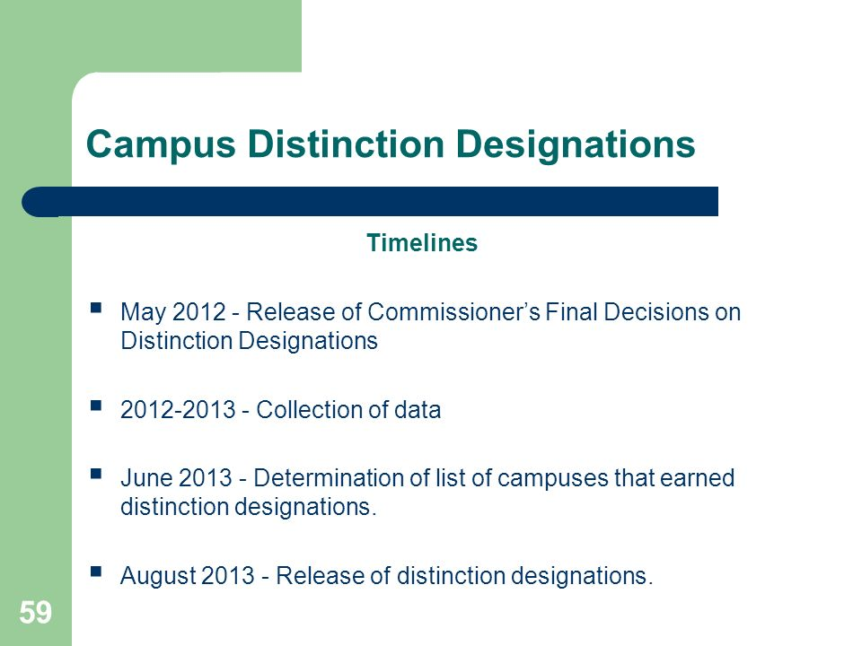 Campus Distinction Designations Timelines May Release of Commissioners Final Decisions on Distinction Designations Collection of data June Determination of list of campuses that earned distinction designations.