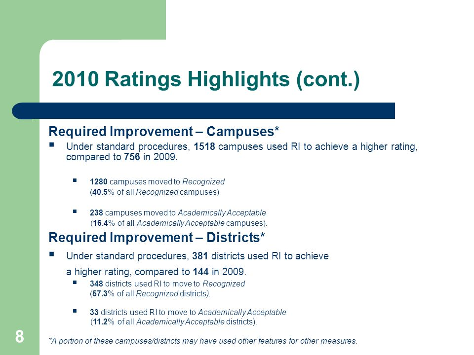 HB 3 Implementation 49 Transition Plans for 2014 August 8, 2014District and campus performance ratings will be issued for second time.