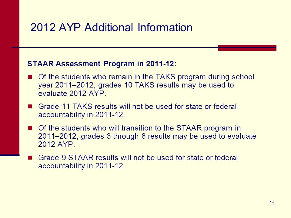 19 2012 AYP Additional Information STAAR Assessment Program in 2011-12: Of the students who remain in the TAKS program during school year 2011–2012, g