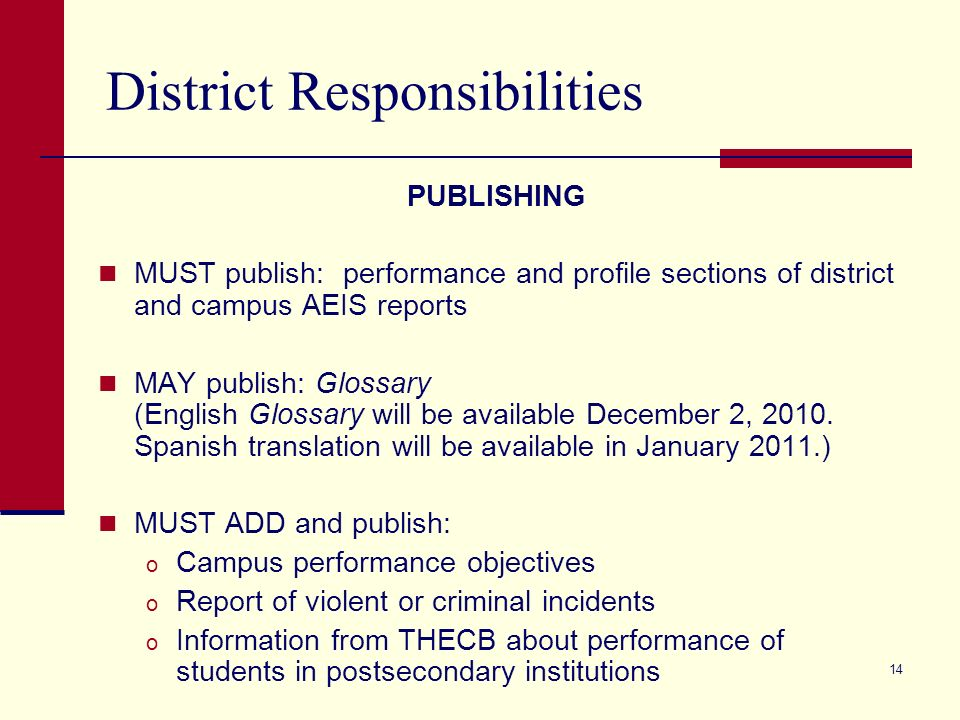 14 District Responsibilities PUBLISHING MUST publish: performance and profile sections of district and campus AEIS reports MAY publish: Glossary (English Glossary will be available December 2, 2010.