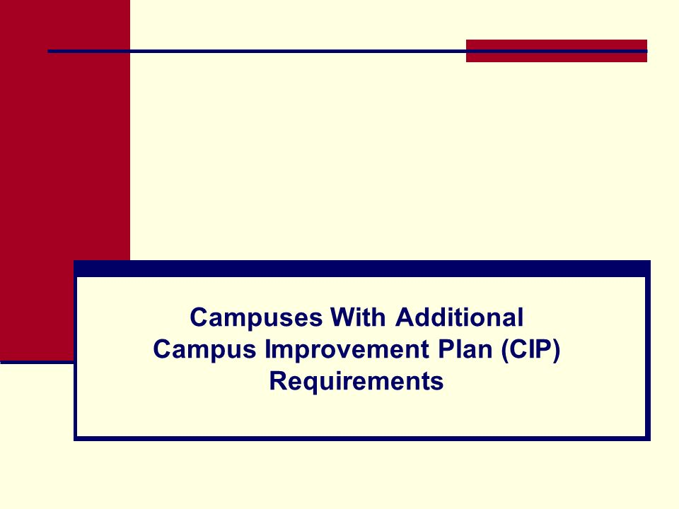 Campuses With Additional Campus Improvement Plan (CIP) Requirements
