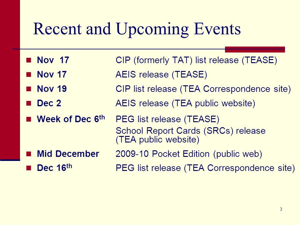 3 Recent and Upcoming Events Nov 17 CIP (formerly TAT) list release (TEASE) Nov 17AEIS release (TEASE) Nov 19 CIP list release (TEA Correspondence site) Dec 2AEIS release (TEA public website) Week of Dec 6 th PEG list release (TEASE) School Report Cards (SRCs) release (TEA public website) Mid December 2009-10 Pocket Edition (public web) Dec 16 th PEG list release (TEA Correspondence site)