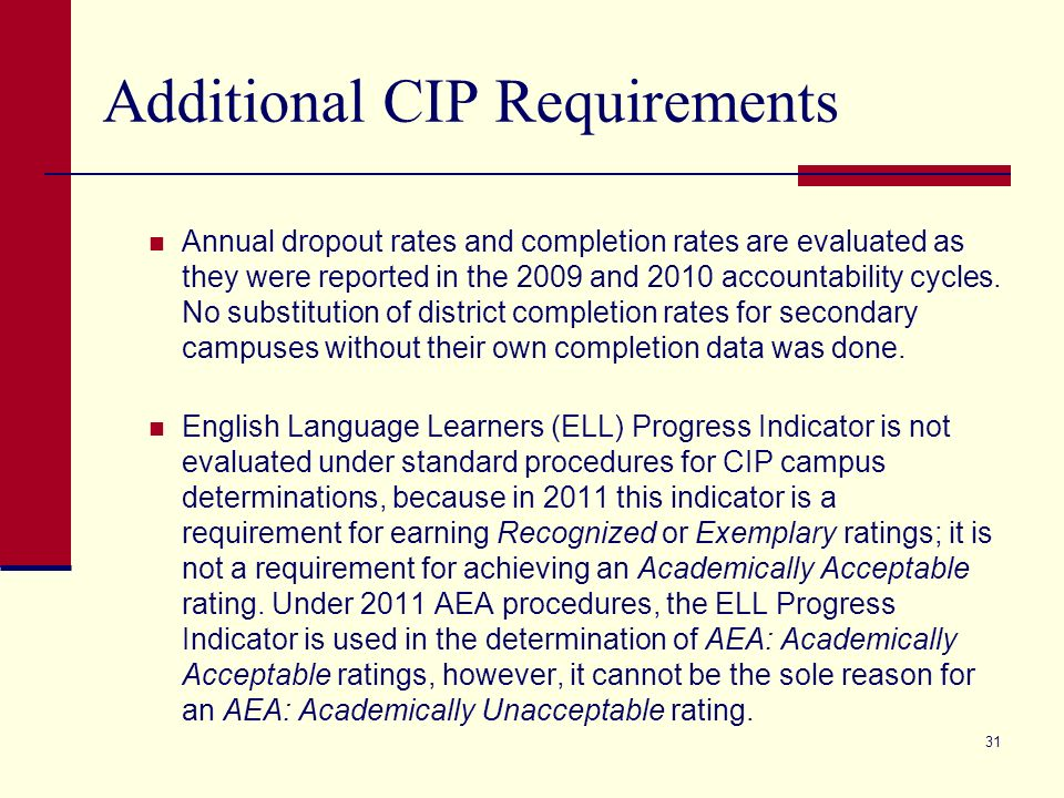 31 Additional CIP Requirements Annual dropout rates and completion rates are evaluated as they were reported in the 2009 and 2010 accountability cycle