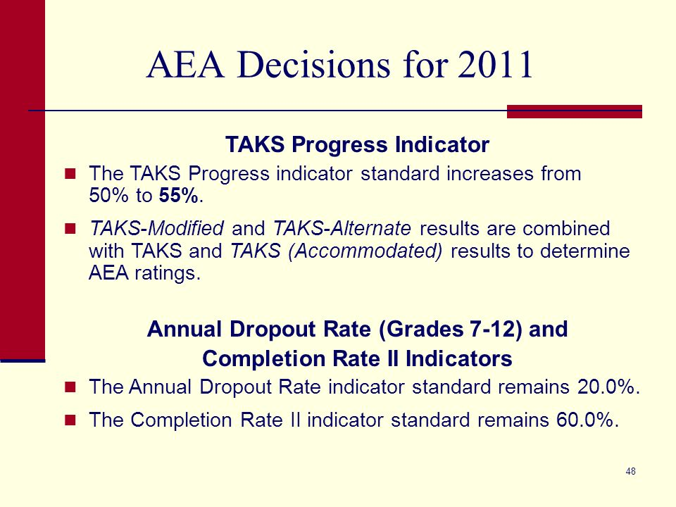 48 AEA Decisions for 2011 TAKS Progress Indicator The TAKS Progress indicator standard increases from 50% to 55%. TAKS-Modified and TAKS-Alternate res
