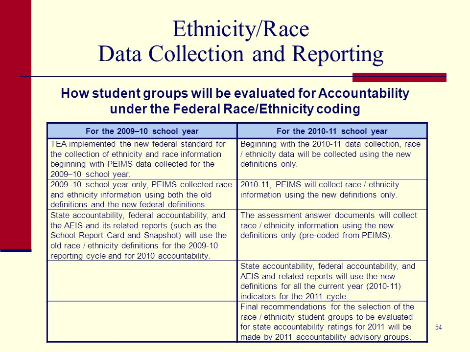 54 Ethnicity/Race Data Collection and Reporting For the 2009–10 school yearFor the 2010-11 school year TEA implemented the new federal standard for the collection of ethnicity and race information beginning with PEIMS data collected for the 2009–10 school year.