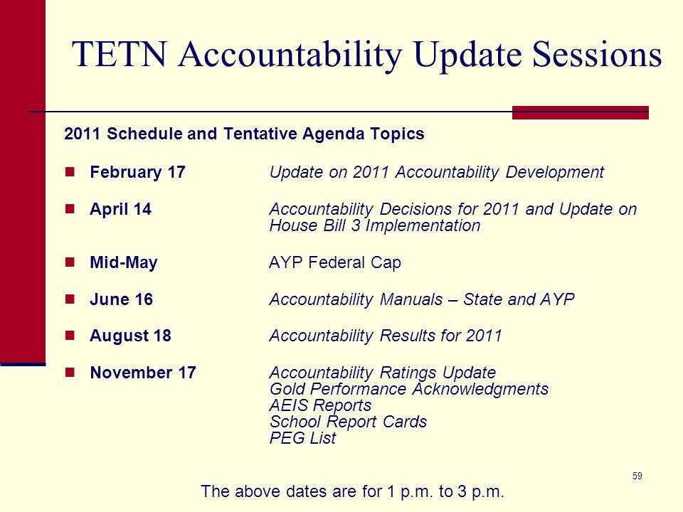 59 TETN Accountability Update Sessions 2011 Schedule and Tentative Agenda Topics February 17Update on 2011 Accountability Development April 14Accounta