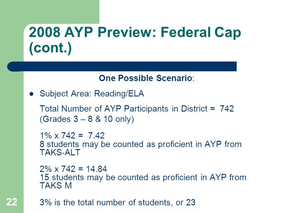 AYP Preview: Federal Cap (cont.) One Possible Scenario: Subject Area: Reading/ELA Total Number of AYP Participants in District = 742 (Grades 3 – 8 & 10 only) 1% x 742 = students may be counted as proficient in AYP from TAKS-ALT 2% x 742 = students may be counted as proficient in AYP from TAKS M 3% is the total number of students, or 23