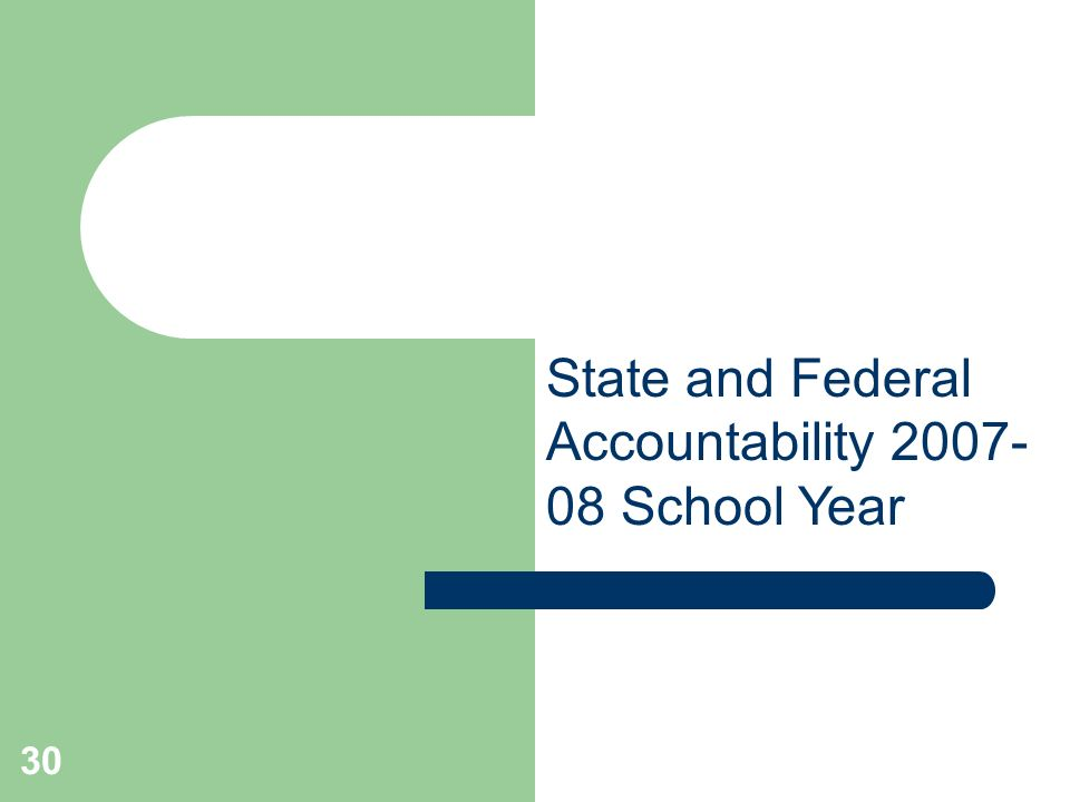 30 State and Federal Accountability School Year