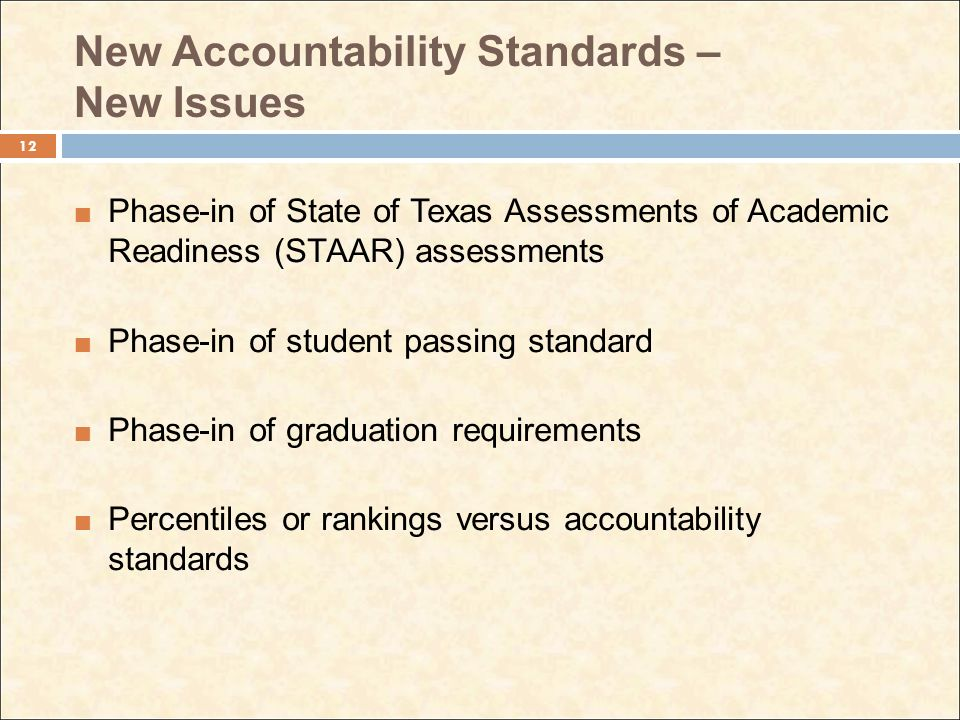 New Accountability Standards – New Issues Phase-in of State of Texas Assessments of Academic Readiness (STAAR) assessments Phase-in of student passing