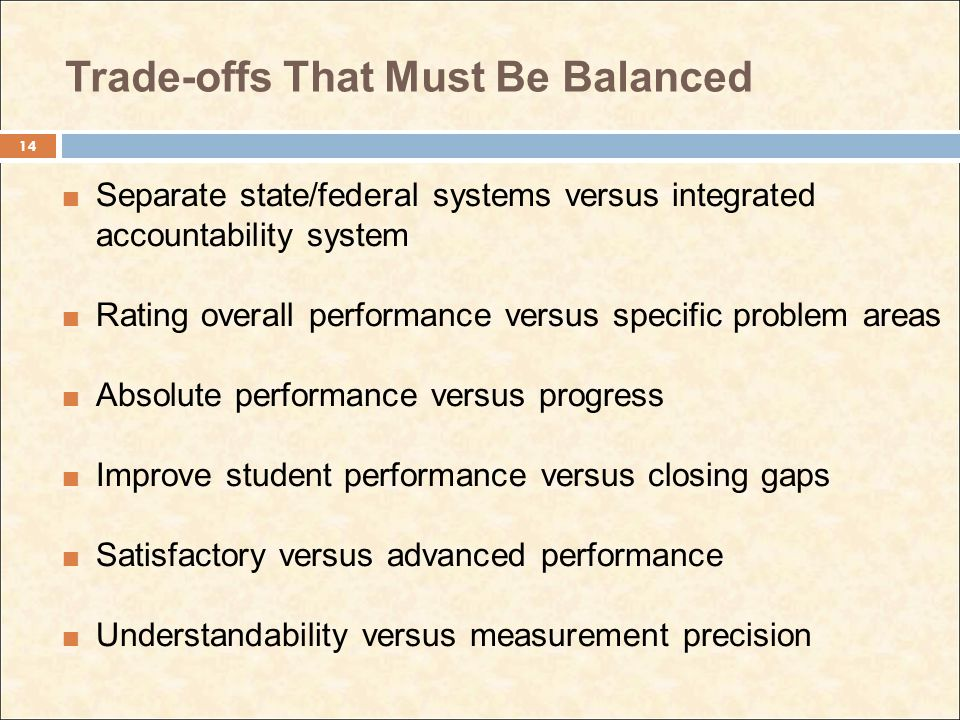 Trade-offs That Must Be Balanced Separate state/federal systems versus integrated accountability system Rating overall performance versus specific pro