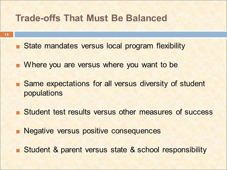 Trade-offs That Must Be Balanced State mandates versus local program flexibility Where you are versus where you want to be Same expectations for all versus diversity of student populations Student test results versus other measures of success Negative versus positive consequences Student & parent versus state & school responsibility 15