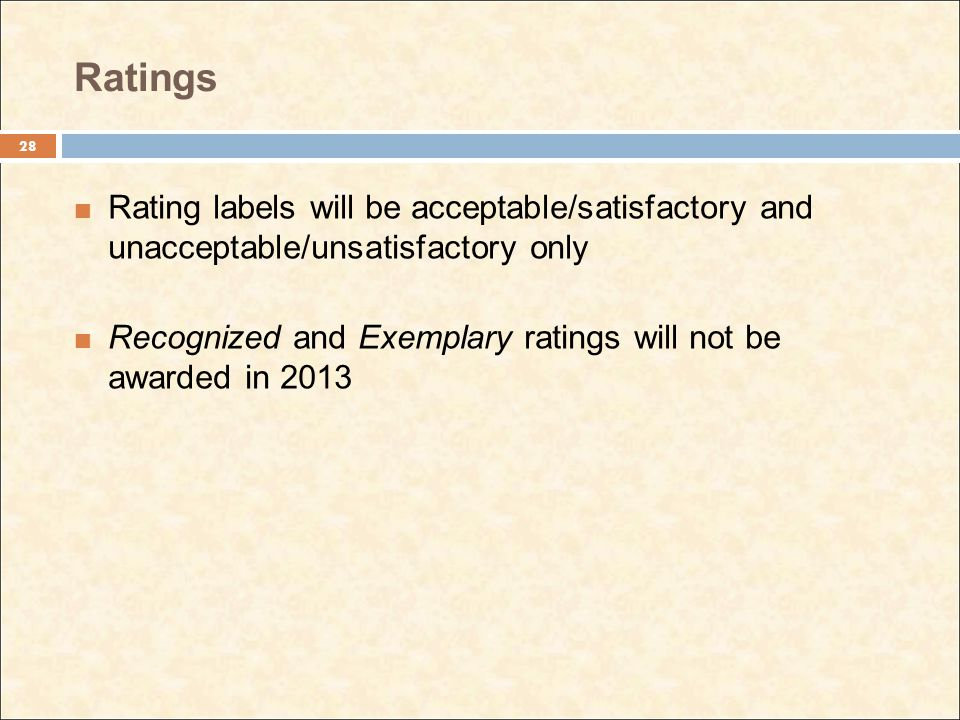 Ratings Rating labels will be acceptable/satisfactory and unacceptable/unsatisfactory only Recognized and Exemplary ratings will not be awarded in 2013 28