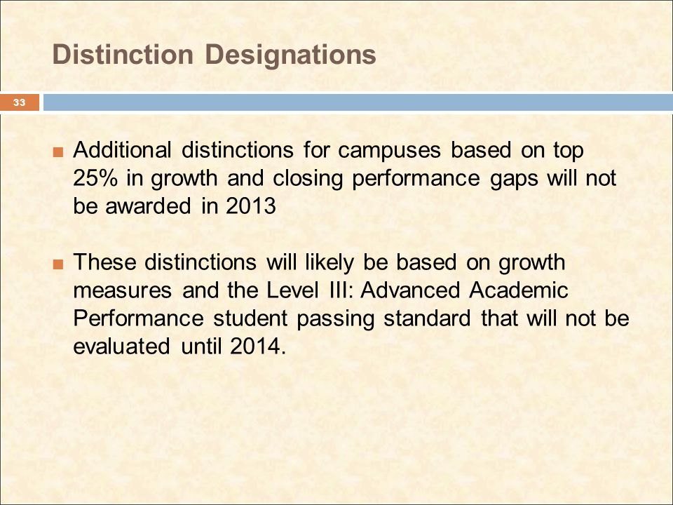 Distinction Designations Additional distinctions for campuses based on top 25% in growth and closing performance gaps will not be awarded in 2013 Thes
