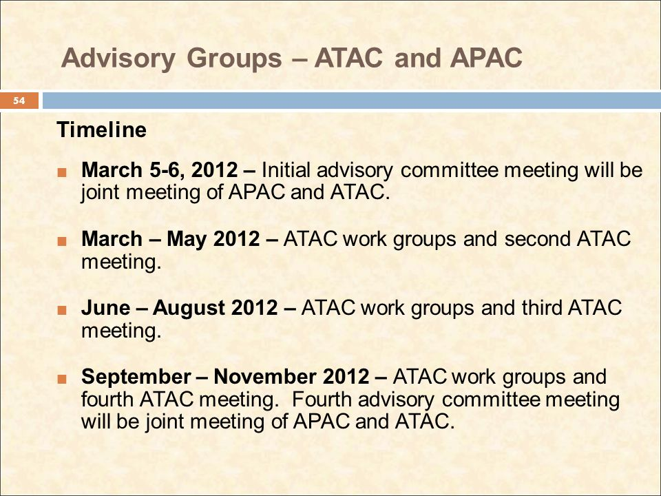 Advisory Groups – ATAC and APAC Timeline March 5-6, 2012 – Initial advisory committee meeting will be joint meeting of APAC and ATAC. March – May 2012