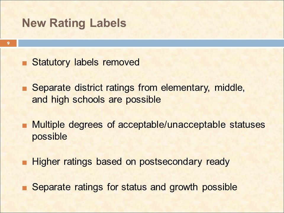 New Rating Labels Statutory labels removed Separate district ratings from elementary, middle, and high schools are possible Multiple degrees of acceptable/unacceptable statuses possible Higher ratings based on postsecondary ready Separate ratings for status and growth possible 9