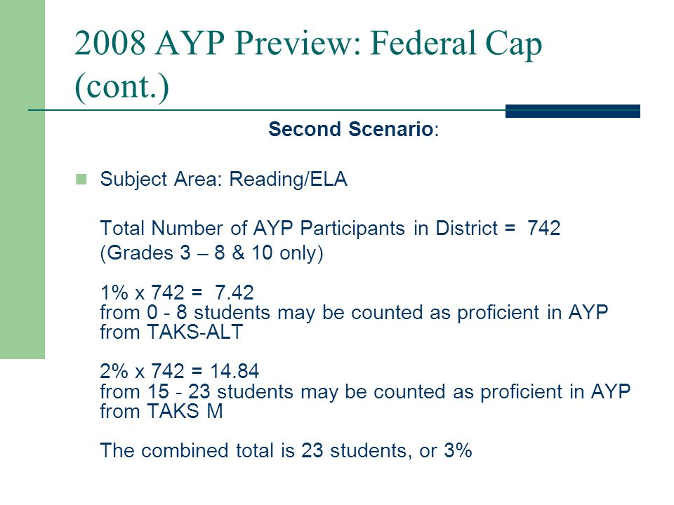 2008 AYP Preview: Federal Cap (cont.) One Possible Scenario: Subject Area: Reading/ELA Total Number of AYP Participants in District = 742 (Grades 3 – 8 & 10 only) 1% x 742 = students may be counted as proficient in AYP from TAKS-ALT 2% x 742 = students may be counted as proficient in AYP from TAKS M 3% is the total number of students, or 23