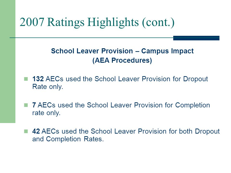 2007 Ratings Highlights (cont.) School Leaver Provision – Campus Impact (Standard Procedures) By using SLP 151 campuses were able to achieve a higher rating: 125 campuses went from Academically Unacceptable to Academically Acceptable.