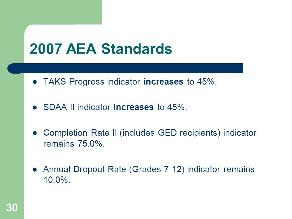 30 2007 AEA Standards TAKS Progress indicator increases to 45%. SDAA II indicator increases to 45%. Completion Rate II (includes GED recipients) indic