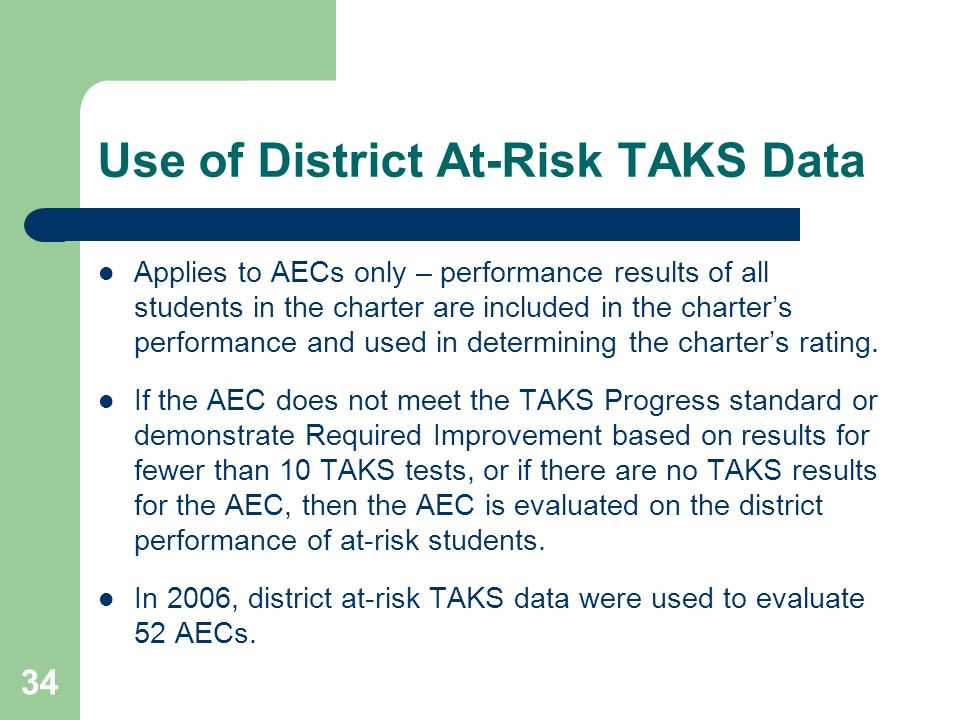 34 Use of District At-Risk TAKS Data Applies to AECs only – performance results of all students in the charter are included in the charters performance and used in determining the charters rating.