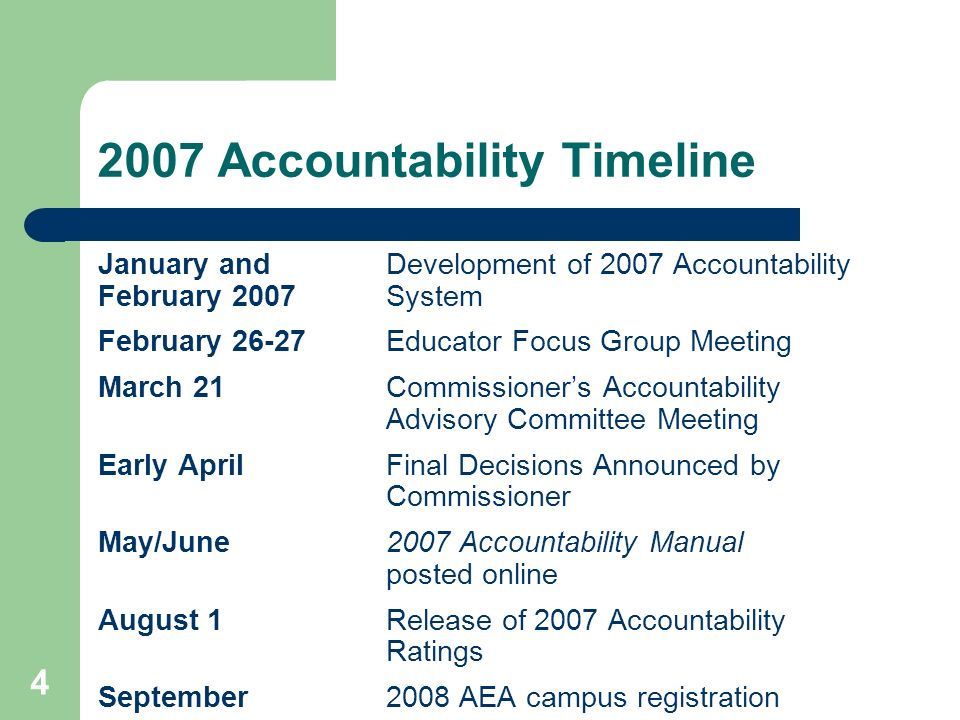 4 2007 Accountability Timeline January and Development of 2007 Accountability February 2007 System February 26-27Educator Focus Group Meeting March 21Commissioners Accountability Advisory Committee Meeting Early AprilFinal Decisions Announced by Commissioner May/June2007 Accountability Manual posted online August 1Release of 2007 Accountability Ratings September2008 AEA campus registration