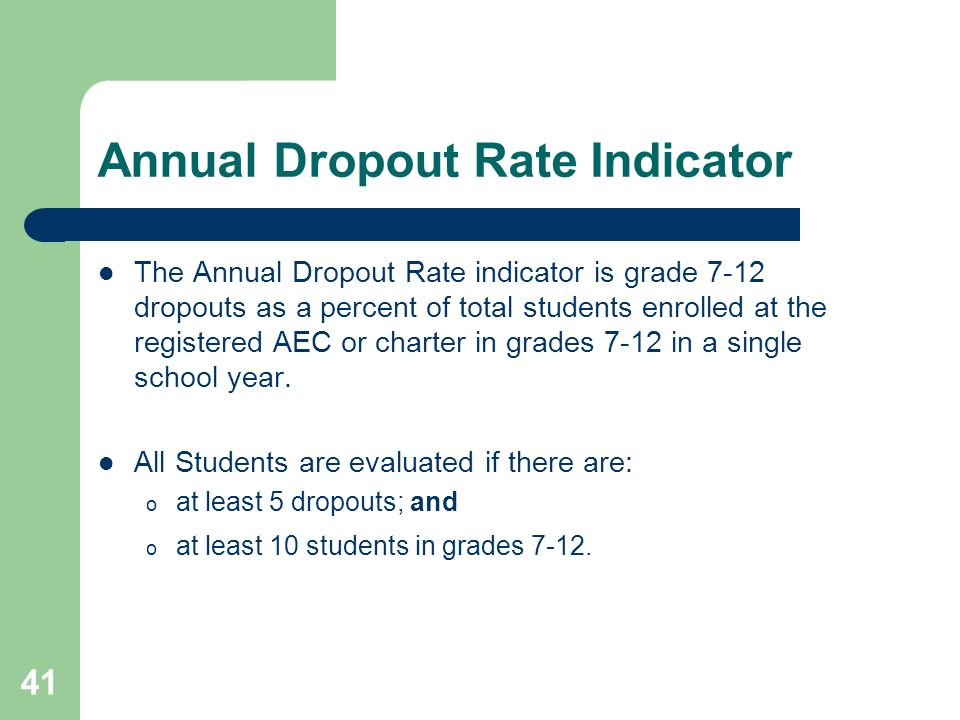 41 Annual Dropout Rate Indicator The Annual Dropout Rate indicator is grade 7-12 dropouts as a percent of total students enrolled at the registered AEC or charter in grades 7-12 in a single school year.