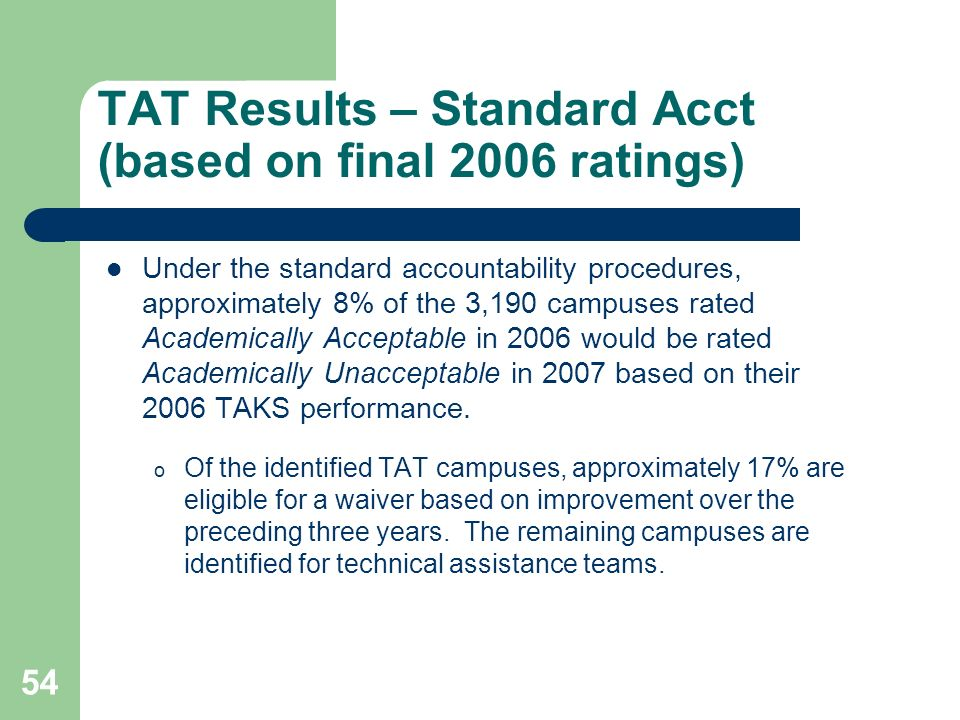 54 TAT Results – Standard Acct (based on final 2006 ratings) Under the standard accountability procedures, approximately 8% of the 3,190 campuses rated Academically Acceptable in 2006 would be rated Academically Unacceptable in 2007 based on their 2006 TAKS performance.