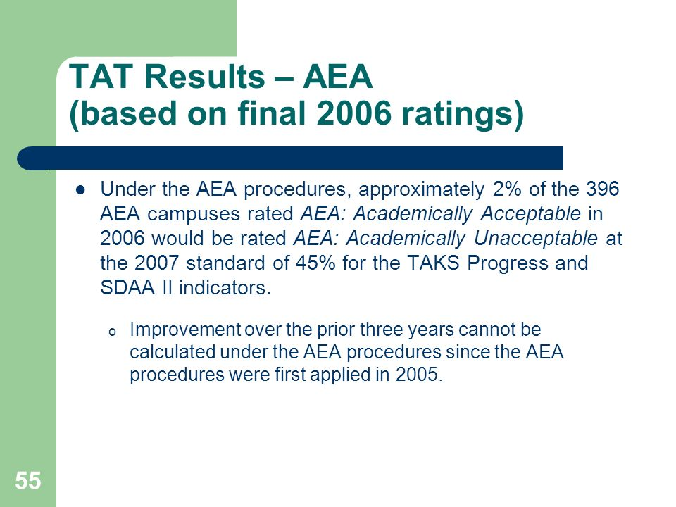55 TAT Results – AEA (based on final 2006 ratings) Under the AEA procedures, approximately 2% of the 396 AEA campuses rated AEA: Academically Acceptable in 2006 would be rated AEA: Academically Unacceptable at the 2007 standard of 45% for the TAKS Progress and SDAA II indicators.