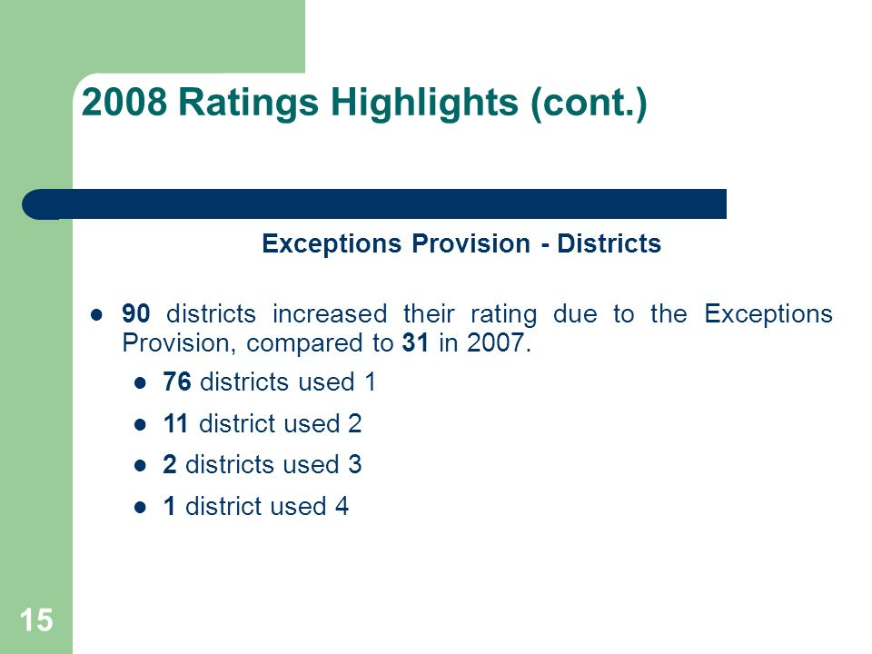 15 2008 Ratings Highlights (cont.) Exceptions Provision - Districts 90 districts increased their rating due to the Exceptions Provision, compared to 31 in 2007.