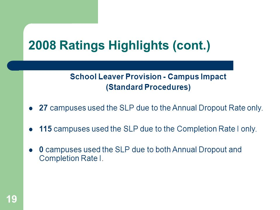 19 2008 Ratings Highlights (cont.) School Leaver Provision - Campus Impact (Standard Procedures) 27 campuses used the SLP due to the Annual Dropout Rate only.