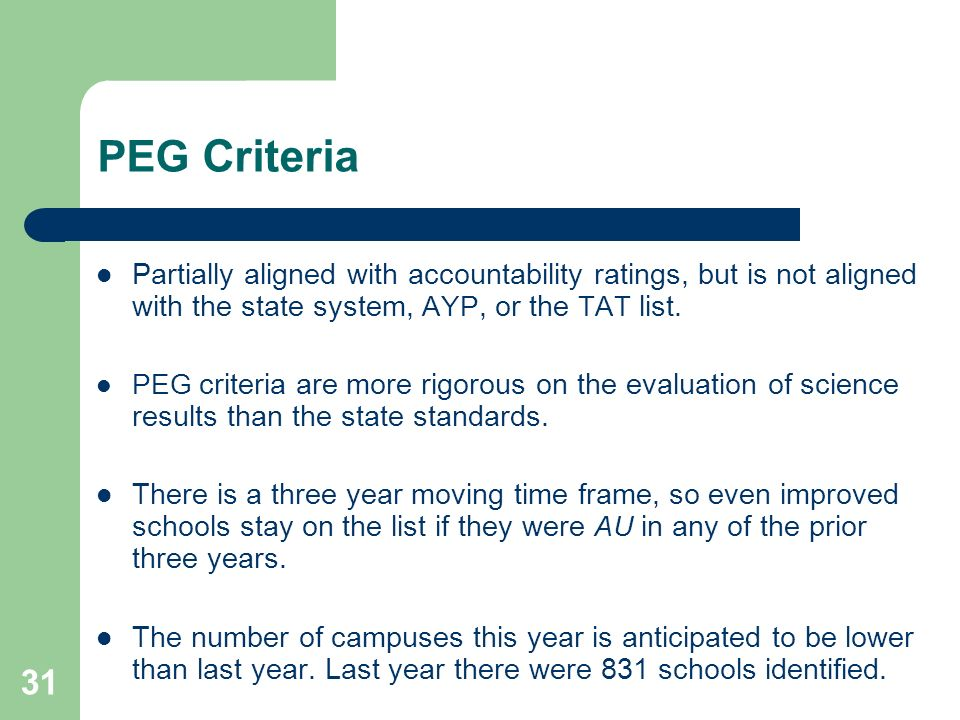 31 PEG Criteria Partially aligned with accountability ratings, but is not aligned with the state system, AYP, or the TAT list.