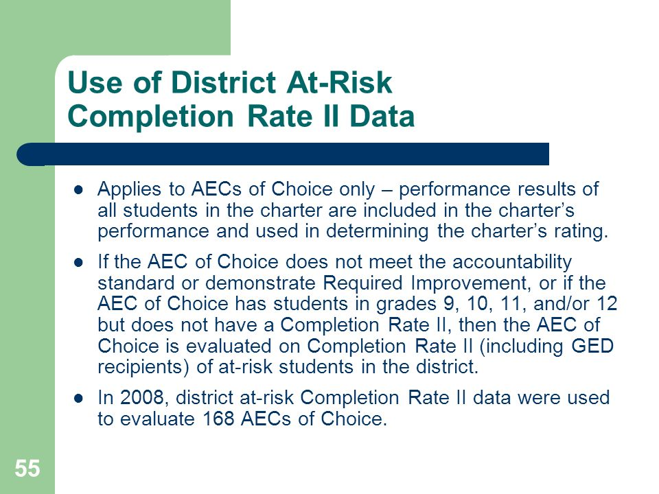 55 Use of District At-Risk Completion Rate II Data Applies to AECs of Choice only – performance results of all students in the charter are included in the charters performance and used in determining the charters rating.