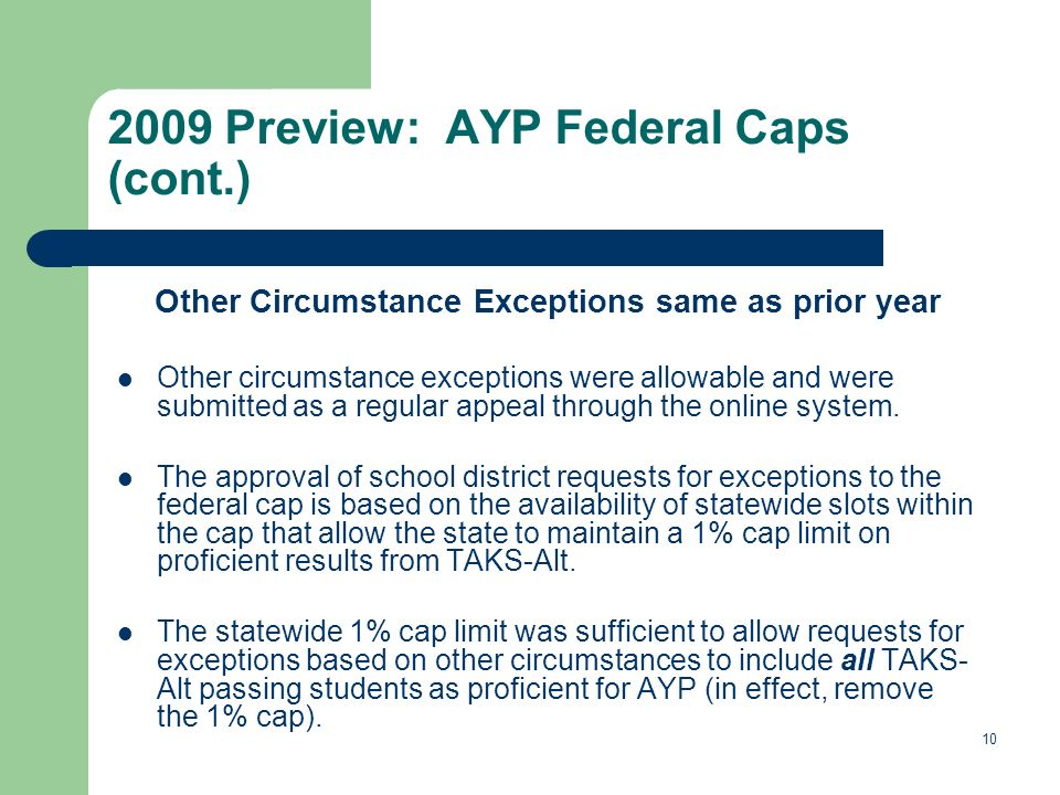 10 2009 Preview: AYP Federal Caps (cont.) Other Circumstance Exceptions same as prior year Other circumstance exceptions were allowable and were submitted as a regular appeal through the online system.
