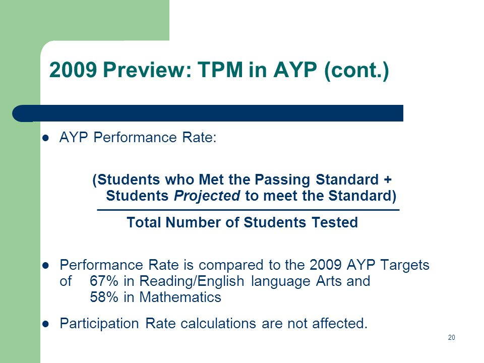 20 2009 Preview: TPM in AYP (cont.) AYP Performance Rate: (Students who Met the Passing Standard + Students Projected to meet the Standard) Total Number of Students Tested Performance Rate is compared to the 2009 AYP Targets of 67% in Reading/English language Arts and 58% in Mathematics Participation Rate calculations are not affected.