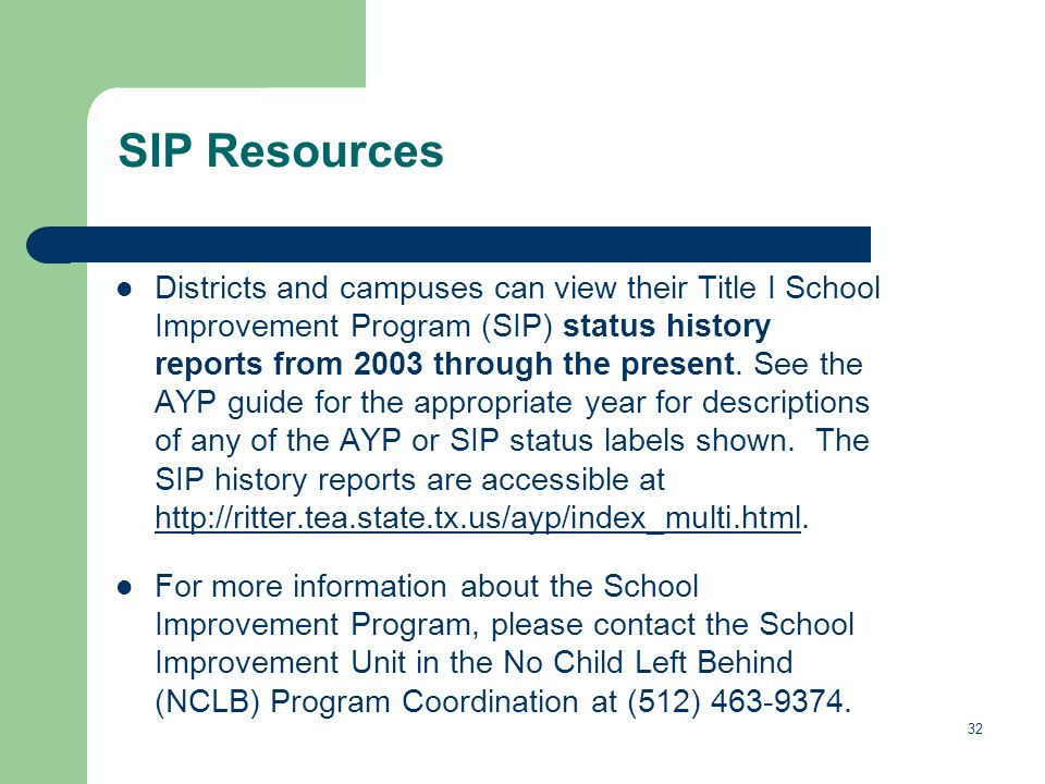 32 SIP Resources Districts and campuses can view their Title I School Improvement Program (SIP) status history reports from 2003 through the present.
