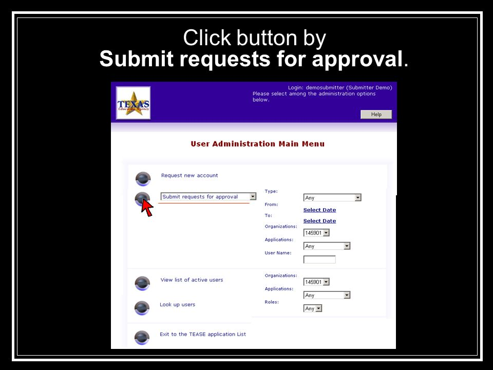 Click button by Submit requests for approval.